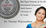 "Dr. Neranji Wijewardana won an award for ""Best Paper Presenter"""
