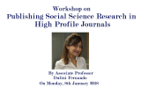 Workshop on Publishing Social Science Research in High Profile Journals
