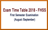 Exam Time Table 2018 – First Semester (Aug./Sep.)
