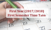 First Year (2017/2018) – First Semester Academic Time Table
